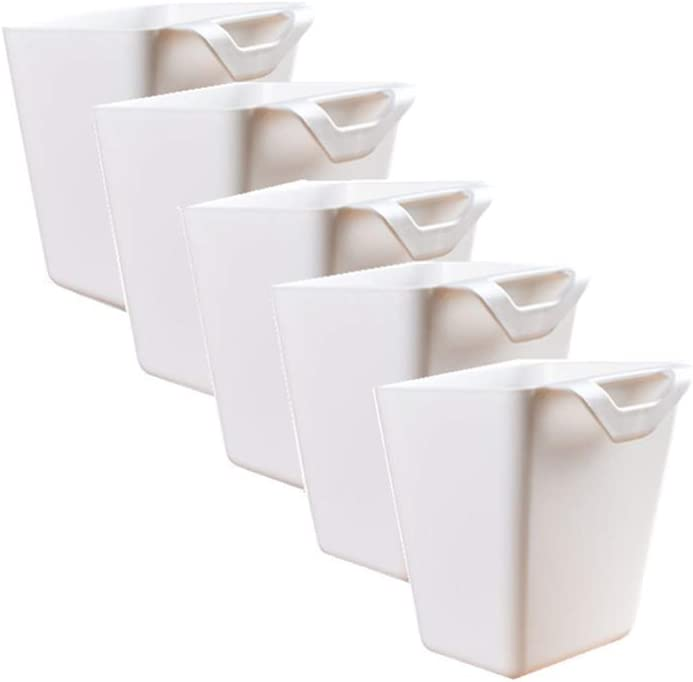 Hanging Cup Holder,Wall Organizer,Plant Containers,Space Saver,Storage Bucket Desktop Cleaning Trash Can,Artificial Planters/Plant Pot or Make Up Pencil Holder for Home Decor Office,Kitchen,White (5)