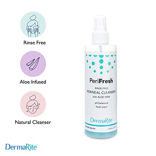 PeriFresh No Rinse Perineal Cleanser Spray – 7.5 oz Peri Bottle – Mild Formula with Aloe – for Incontinence Care, Postpartum – for Men and Women