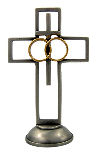 Pewter Two Tone Antique Finish Wedding Standing Cross, 4 - Wedding Tone Two Cross