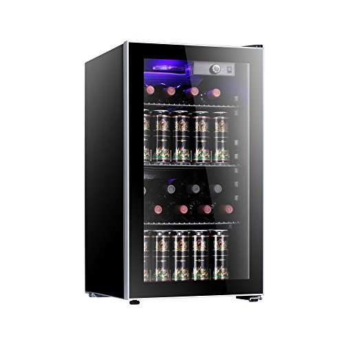 Antarctic Star 26 Bottle Wine Cooler/Cabinet BeverageRefrigerator Small Mini Red & White Wine Cellar Beer Soda Counter Top Bar Fridge Quiet Operation Compressor Adjust Temperature Freestanding Black