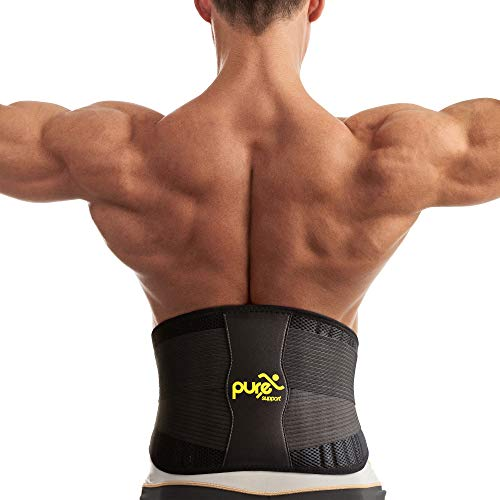 Back Support - Lumbar Lower Back Brace - Waist Support Belt with Removable Pad and Dual Adjustable Straps for Men and Women ()
