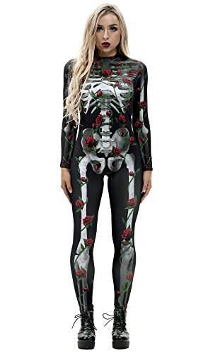 URVIP Women Halloween Skeleton Costume Stretch Skinny Catsuit Jumpsuit Bodysuit BAX-013 S