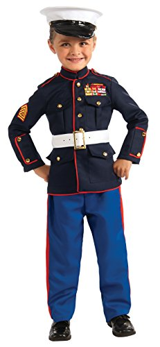 Women's Marines Halloween Costumes (Young Heroes Marine Dress Blues Costume, Small)