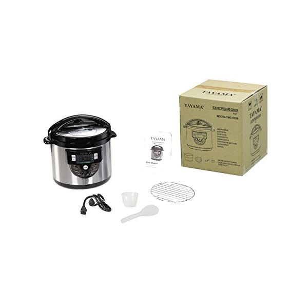 Tayama TMC-60SS Electric Pressure Cooker with Stainless Steel Pot 6 Quart, Medium, Black 6