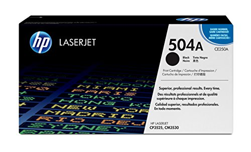 HP 504A (CE250A) Black Original Toner Cartridge for HP Color LaserJet CP3525 (Color Laserjet Cp3525n Printer)