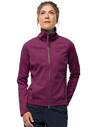 Jack Wolfskin Women's Riverland Women's Midweight Fleece Jacket W/ Organic Cotton,Wild Berry ,Small