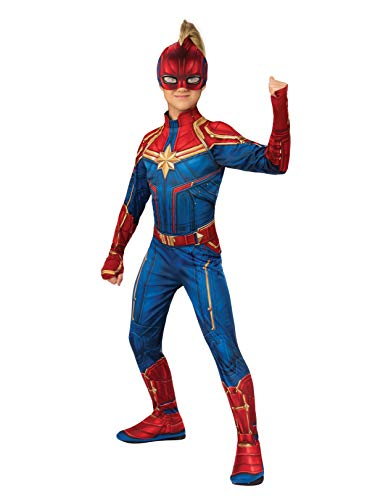 Captain Marvel Hero Costume Suit, Large Blue/Red]()