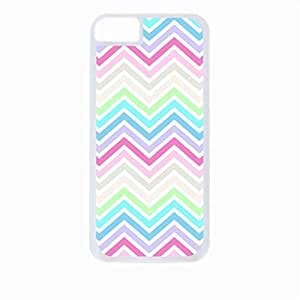 Pastel Chevron- Case for the Apple Iphone 5C-Hard White Plastic Outer Shell with Inner Soft Black Rubber Lining