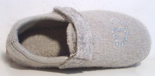 Haflinger Hausschuhe grau Schurwolle Klettverschluss Gummisohle