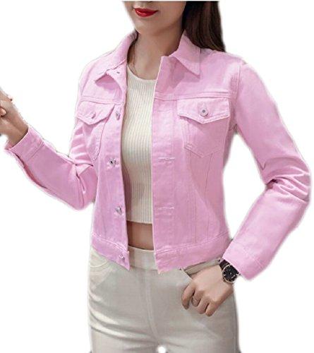 Delle Rosa Lunghe Maniche Anteriori Jeans Di Ritagliate Per Eku Donne Giacche Pulsante Giacca Donne Jeans Brevi Le vqaxAA