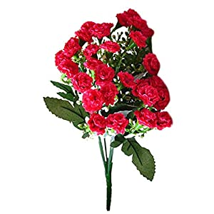 New Artificial Silk Flowers Carnation 30 Buds Flowers 6 Branches 1 Bouquet Mother Lilac Flower Craft for Wedding Home Party Burgundy