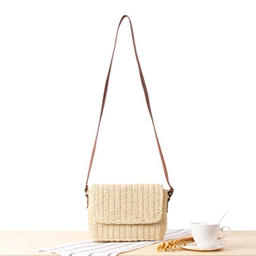 Casual Handbag Crossbody Beach Bag Women Straw Prosperveil Holiday Flap Beige Simple Shoulder Xpqn86w