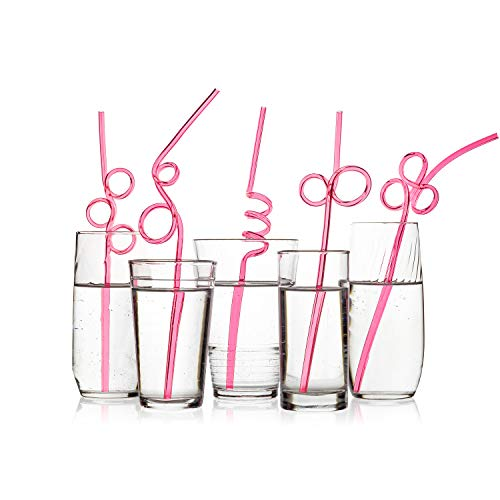 40 Premium Recyclable Crazy Party Drinking Straws - LONGER & WIDER - Neon Pink Value Pack - BPA PFOA Free