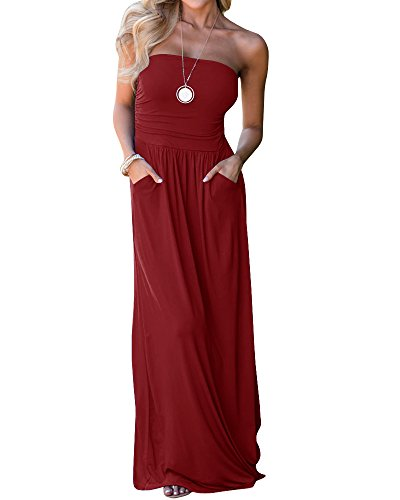 (Chuanqi Womens Summer Strapless Maxi Dresses Off The Shoulder Party Dress with Pockets (Medium, Red))