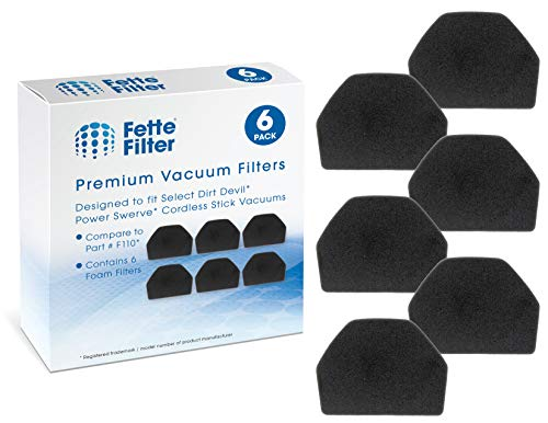 (Fette Filter - Vacuum Filter Compatible Dirt Devil Power Swerve Filter F110 6-Pack)