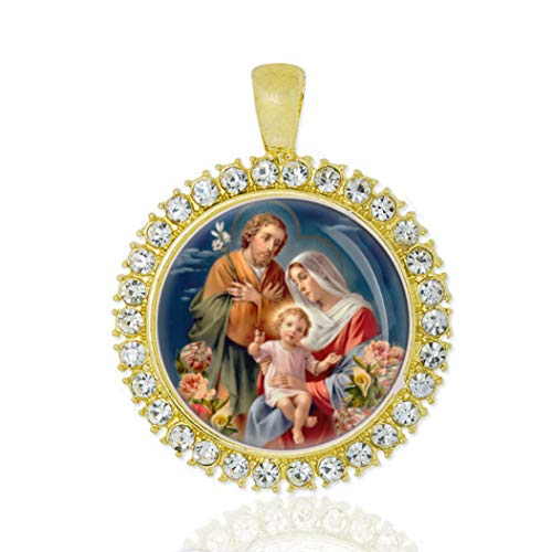 - Realig HOLY Family Gold Tone Pendant with Rhinestones Round Medal