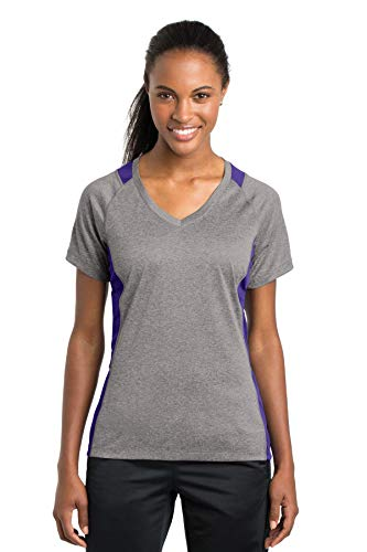 Sport-Tek Women's Heather Colorblock Contender V XL Vintage Heather/Purple Athletic Vintage Sport Shirt