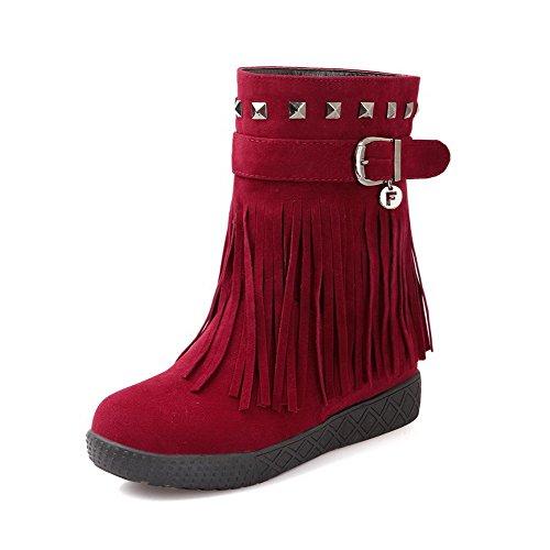 AllhqFashion Mujeres Tacón Medio Esmerilado Caña Baja Sin cordones Botas con Borlas Rojo