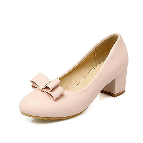 Balamasa Mujeres Chunky Heels Spun Gold Bowknot Low-cut Uppers Imitated Leather Pumps-Zapatos Pink