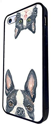 1022 - Cool Fun Cute Pug Cat Kitten Love Animals Pet Hiding Playful Illustration Art Kawaii Design iphone SE - 2016 Coque Fashion Trend Case Coque Protection Cover plastique et métal - Noir