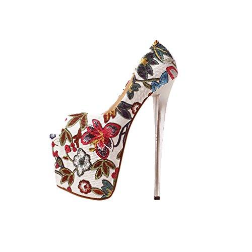 Womens Super Høye 20cm / 8 Stiletthæler Floral Kinesisk Stil Peep-toe Sexy Pumper Rød Blomst