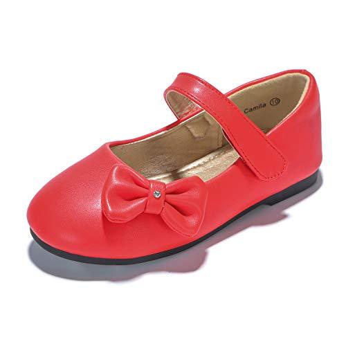 PANDANINJIA Toddler/Little Kids Camila Wedding Party Red Ballet Flower Mary Jane Girls Flats Dress -