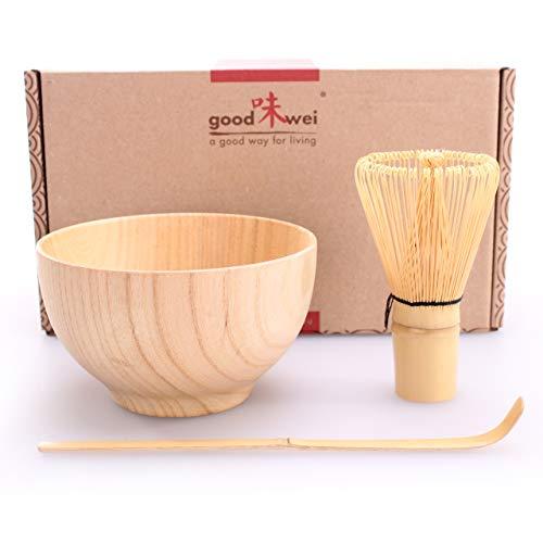 Set ceremonia de te Matcha Boku - Cuenco de te Matcha de madera, batidor de bambu y cucharilla de bambu (Shizen (naturaleza))