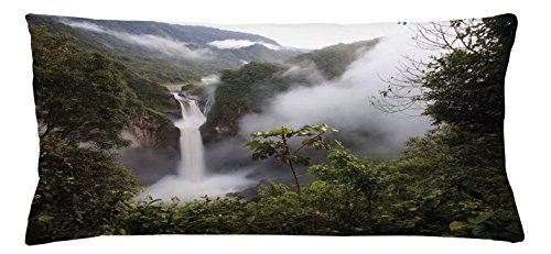 Rainforest Throw Pillow Cushion Cover by Ambesonne, San Rafael Falls Ecuador Misty Natural Waterfall in Lush Jungle Landmark Scene, Decorative Square Accent Pillow Case, 36 X 16 Inches, Green - Rafael Stores San