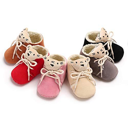 Alamana Lovely Animal Head Baby Infant Soft Sole Warm Anti-Slip Prewalker Toddler Shoes Pink 12cm