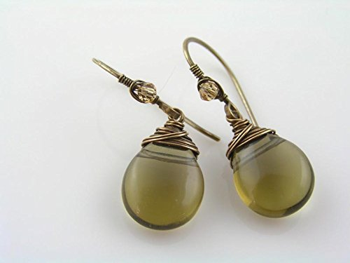 Wire Wrapped Smokey Quartz Earrings