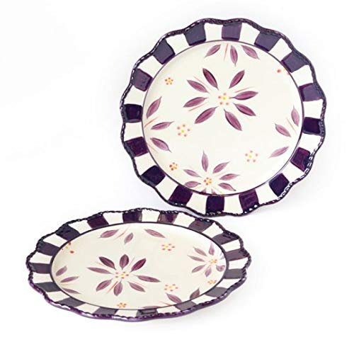 """(Temp-tations Old World Eggplant Set of Two 8"""" Dessert Plates with Checkerboard)"""