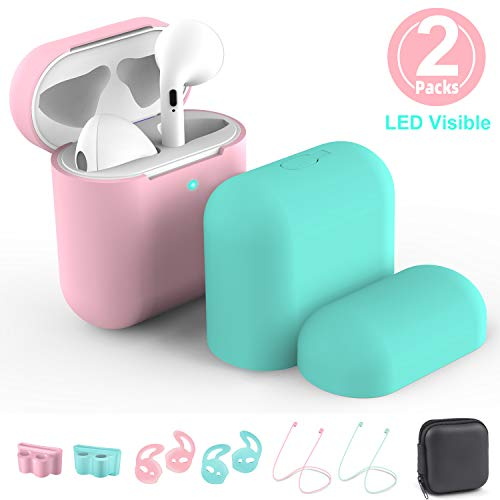 New Airpods Case Cover, 2 Packs Airpods Skin for Apple Airpods 1 & 2 Wireless Charging Case,RTAKO AirPods Case Protective Cover Silicone Skin Waterproof Airpods Accessories 9 in 1 (Pink&Mint Green)
