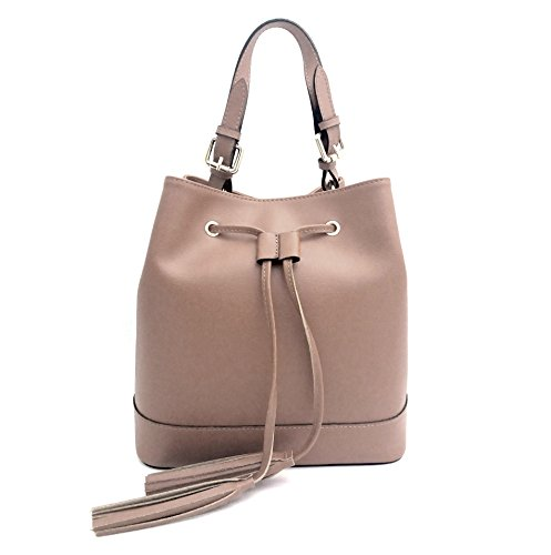 Spalla Donna Secchiello Luxury A Taupe Andrea Leather Vera Borsa Made Pelle Bag Deep Shopper Mano Italy Rose In PZ7Wr8PpT