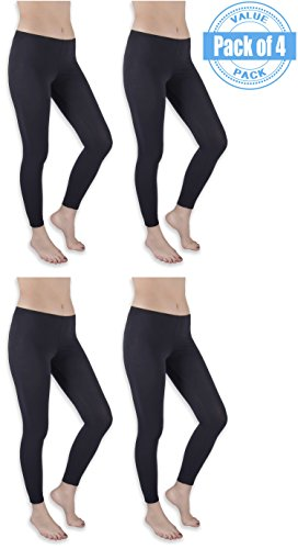 Sexy Basics Womens 4 Pack Stretch Cotton Full Length Footless Legging Tights (Large 9-11, 4 Pack Black)