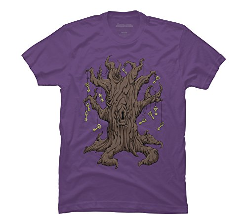 Gnarled Tree - Gnarled Tree with Skeleton Keys and Men's 2X-Large Purple Graphic T Shirt
