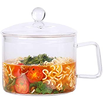 Mini Sized Glass Pasta Noodles Bowls with Lid and Handle, 44 FL OZ/1.4L Glass Soup Bowls for Noodles, Soup, Cereals, Fruits, BPA Free, Microwave Dishwasher Oven