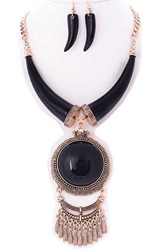 StyleNo1 {CN01013 WOMEN'S FASHIONABLE DOUBLE HORN NECKLACE W ROUND PENDANT AND EARRINGS SET - Designed In USA (BLACK) (Necklace Horn Black Round)