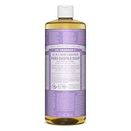 Dr. Bronner's Pure-Castile Liquid Soap Value Pack – Lavender 32oz. (2 Pack) 71 LAVENDER VALUE 2 PACK.  Scented with pure lavender and lavandin oils to calm the mind and soothe the body! Dr. Bronner's Pure-Castile Lavender Liquid Soap is concentrated, biodegradable, versatile and effective SMOOTH AND MOISTURIZING.  Dr. Bronner's Liquid Pure-Castile Soap offers organic and vegan ingredients for a rich, emollient lather and a moisturizing after feel. It uses organic hemp, olive,  and coconut oil to nourish your clean, healthy skin. NATURAL.  Smooth and luxurious soap with no synthetic detergents or preservatives, as none of the ingredients or organisms are genetically modified. Use on your hands, face, or hair, or dilute your soap for a multi-use cleaning product.