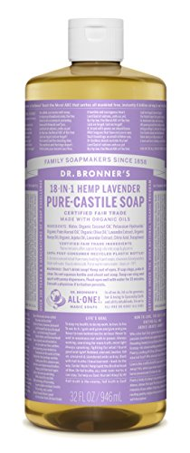 Dr. Bronner's Pure-Castile Liquid Soap, Lavender, 32 Fluid Ounce (More No Skin Hair Doctors)