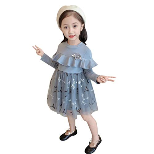 Children Kid Girls Flower Ruffles Embroidery Dress Formal Court Elegance CausalOutfits Clothes (Size:5T)