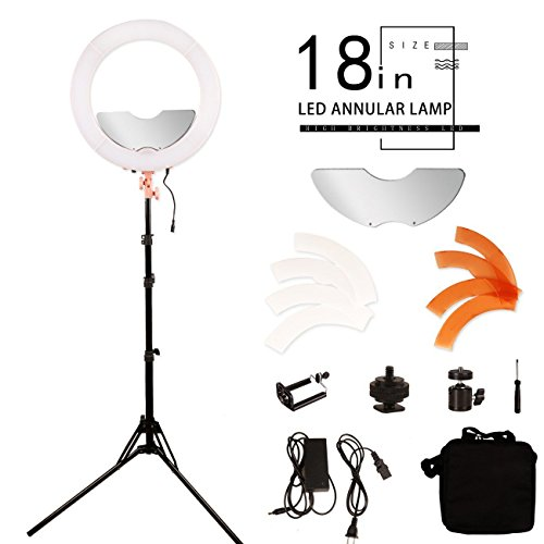 BYWLWLMY 18 inch 240 Led Ring Light Kit Dimmable Photo Studio Video Portrait Film Selfie Photography Lighting Set Makeup light with Mirror,Stand and Bag