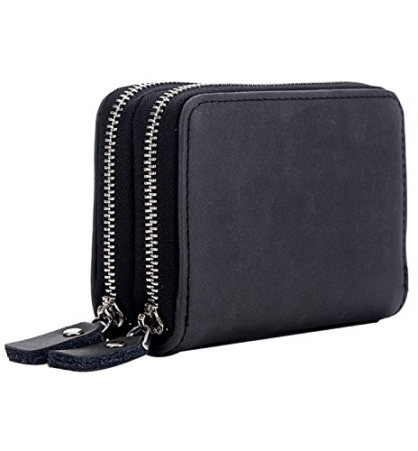 RFID Block Genuine Leather Secure Credit Card Holder Wallet, Unisex, Free Keychain and Gift Box, Black, b6w012bk