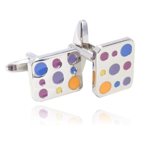 Colorful Glazing Platinum Plated Cufflinks with Box By Digabi - 18k Gold Cufflinks