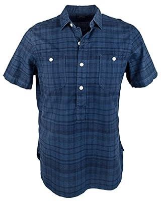 Polo Ralph Lauren Mens Indigo Oxford Plaid Standard Fit Button-Down Shirt