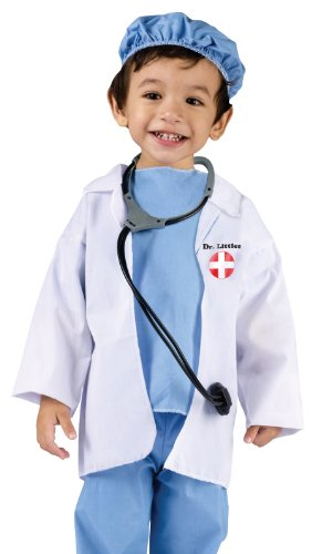 Fun World Costumes Baby's Doctor Toddler Costume, Blue/White, Large(3T-4T) -