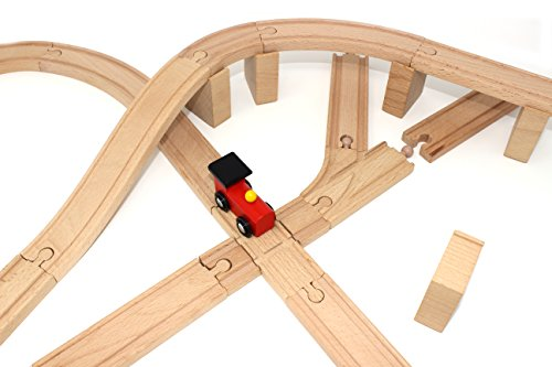 62 pieces wooden train track expansion set 1 bonus toy train import it all. Black Bedroom Furniture Sets. Home Design Ideas