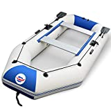 2-4 Person Inflatable Boat Set with Aluminum Oars and High Output Air Pump