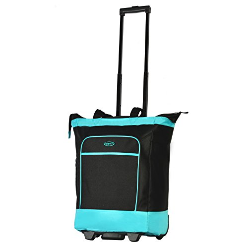 RAVE Carry-on Luggage Rolling Shopper Tote, Black and Blue ()
