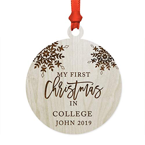 (Andaz Press Personalized Graduation University Student Christmas Laser Engraved Wood Ornament, My First Christmas in College John 2019, Snowflakes, 1-Pack, Includes Ribbon and Gift Bag, Custom Name)