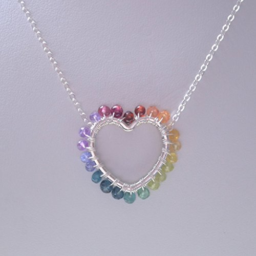 Rainbow Heart Necklace in Sterling Silver for Girls